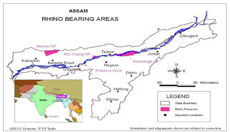 Map of Assam Showing National Parks